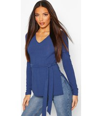 tall belted side split rib top, navy