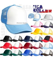 trucker foam mesh baseball cap blank plain hat snapback two tone visor hats new