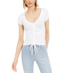 calvin klein jeans ruched scoop-neck top