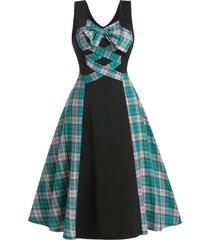 checked insert bowknot sleeveless mid calf dress