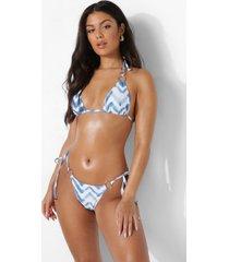 driehoekige chevron bikini top met ring detail, blue