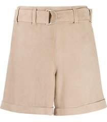 incentive! cashmere high-waisted belted shorts - brown