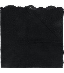 faliero sarti embroidered scalloped scarf - black