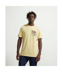 camiseta comfort manga curta em algodão estampa i love beer | marfinno | amarelo | gg