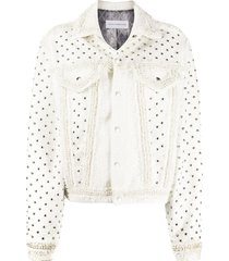 faith connexion tweed style studded jacket - white