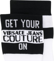 versace jeans couture quote intarsia socks - white