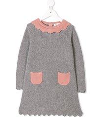 cashmirino cashmere scalloped trim dress - grey