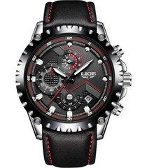 reloj hombre lige 9821 cronografo 3bar pulso cuero negro