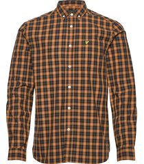 check poplin shirt skjorta casual gul lyle & scott