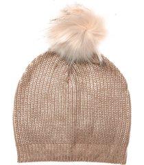 womens metallic beanie with faux fur pom pom