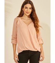 yoins rosa blusa de mangas ajustables al frente cruzado con cuello en v