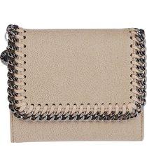 beige faux leather falabella flap wallet