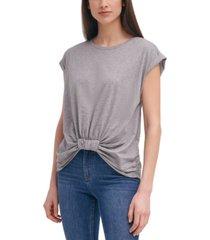 calvin klein gathered-front cotton t-shirt