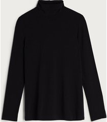 blusa de manga comprida em micromodal com gola alta intimissimi micromodal preto - preto - feminino - dafiti