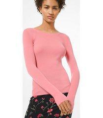 mk pullover leggero in cashmere - petalo (rosa) - michael kors