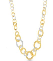 catherine malandrino women's 2-tone graduated interlocked circle yellow gold-tone and silver-tone link necklace