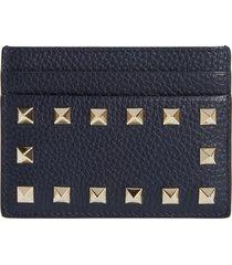 women's valentino garavani rockstud leather card case - blue/green