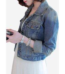 giacca in jeans stretch con maniche lunghe modello sfilacciato