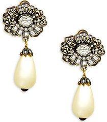 mirror beauty glass pearl & crystal drop earrings