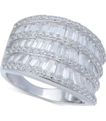 cubic zirconia three row baguette statement ring in sterling silver