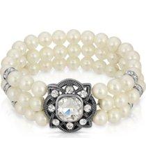 2028 silver-tonetone 3-row imitation pearl and crystal strectch bracelet