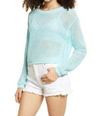 women's bp. open stitch cotton crewneck sweater, size x-large - blue/green