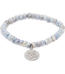 sterling silver, coated sapphire & diamond bead bracelet