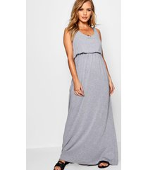 petite bagged over racer back maxi dress, grey marl