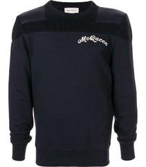 alexander mcqueen logo embroidery hybrid sweatshirt - blue