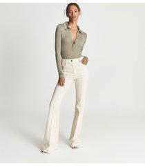 reiss lucia - open neck polo bodysuit in khaki, womens, size xl