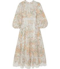 amelie crochet-trimmed broderie anglaise midi dress