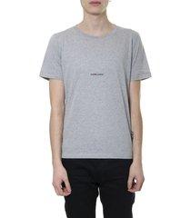 saint laurent gray logo t-shirt in cotton