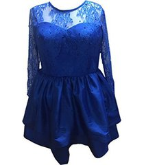 fanmu long sleeves lace satin homecoming dresses short prom gowns royal blue us