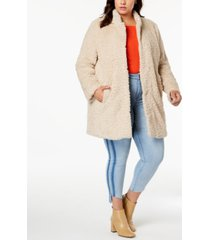 kenneth cole plus size faux-fur coat