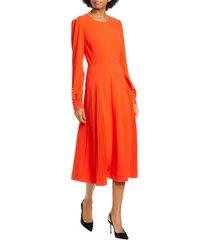 women's tory burch pleat detail long sleeve crepe dress
