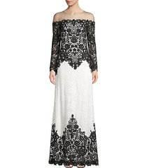 lace long-sleeved illusion gown