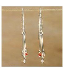 carnelian dangle earrings, 'sweet pendulums' (thailand)