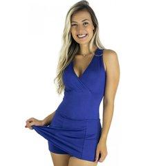 macaquinho mvb modas vestido curto short saia azul