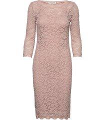 dress 3/4s knälång klänning rosa rosemunde