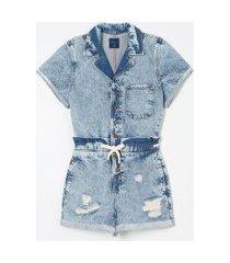 macaquinho jeans com puídos e amarração na cintura | blue steel | azul | g