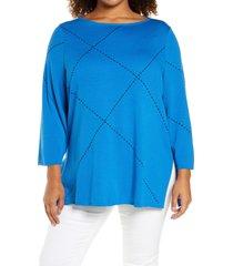 plus size women's ming wang stitch accent tunic, size 3x - blue