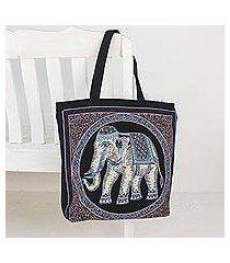 cotton shoulder bag, 'spring elephant' (thailand)