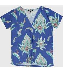 blusa azul-verde-blanco desigual