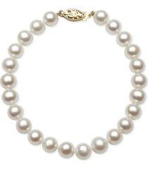 belle de mer cultured freshwater pearl bracelet (7mm) in 14k gold