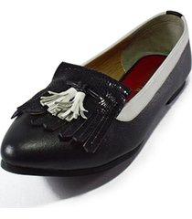 baleta cuero negro blanco punta versilia samira