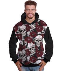 e2384bf85 blusa de moletom di nuevo crânio rock floral morte caveira mexicana preto