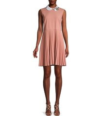 redvalentino women's peter pan collar pleated dress - rose - size 44 (12)