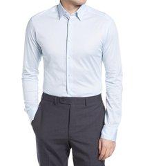 men's eton slim fit cotton dress shirt, size medium - blue