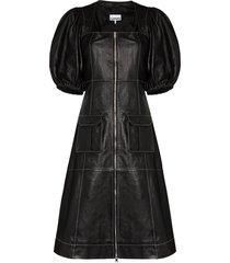 ganni puff-sleeve leather midi dress - black