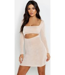textured slinky cut out long sleeve dress, champagne